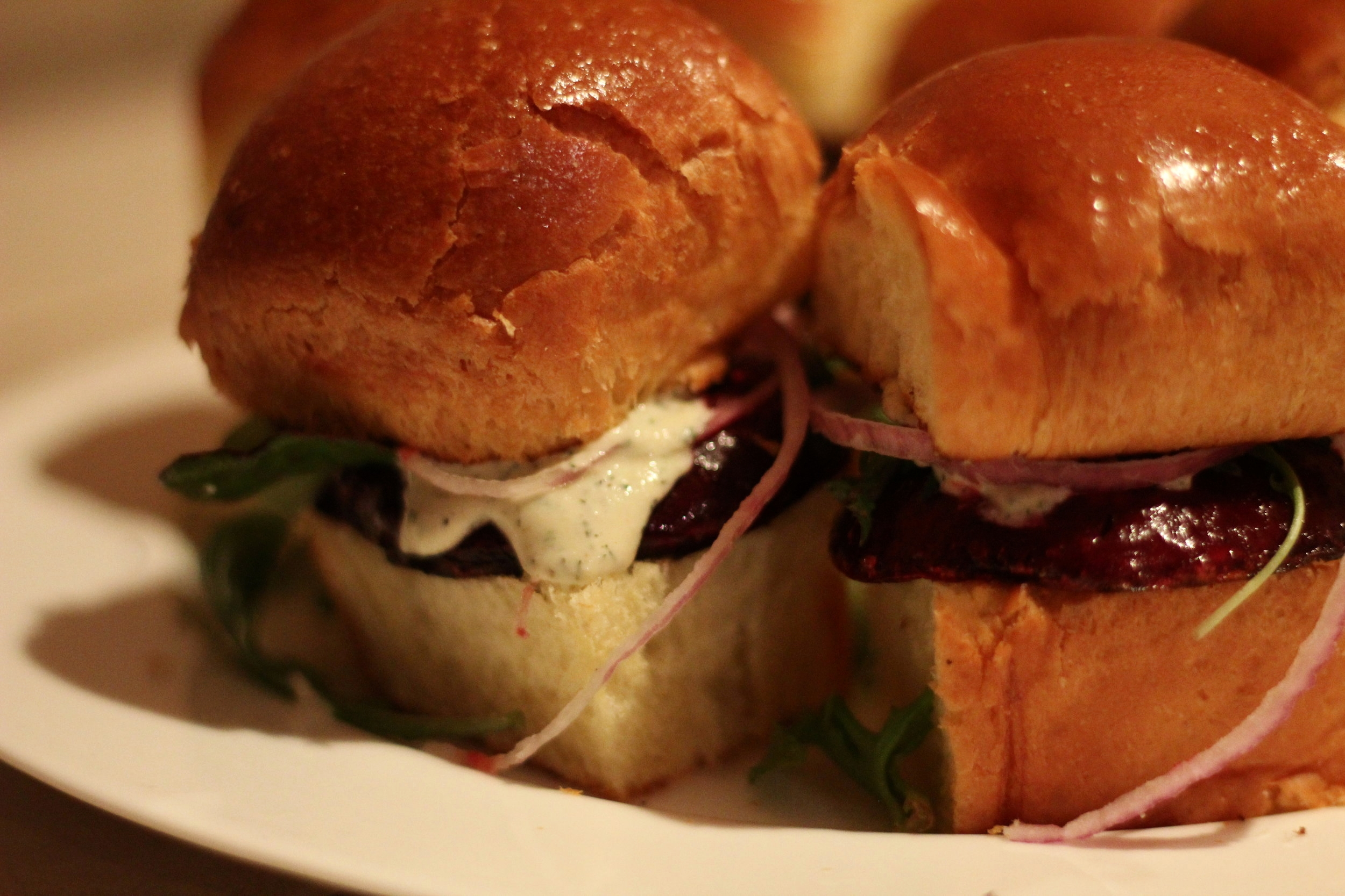 Beet Sliders with Cashew Ranch